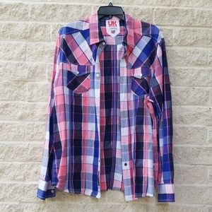 French Connection UK Style Mens Plaid Button Down